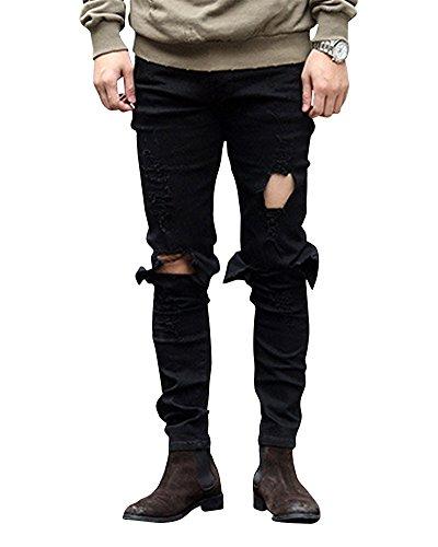 Jeans Slim Cuciture Ginocchio Nero Pantaloni In Fit Uomo Distrutto Sguardo Decorative 6xOwIt