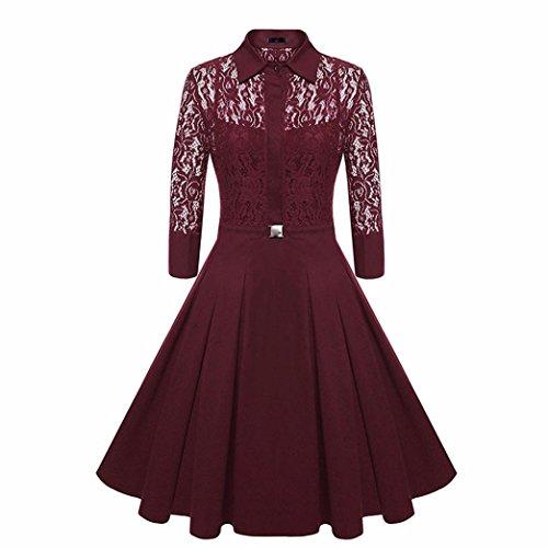 DoraMe Vestido ocasional del cóctel del Bodycon Dress de la boda del cuello O del cordón de las mujeres Vino4