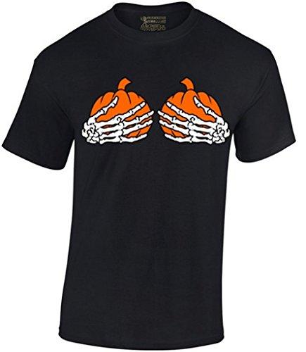 Awkwardstyles Men's Pumpkin Skeleton Hands Boobs T-Shirt Halloween Shirt M Black