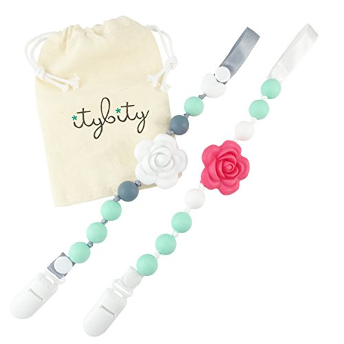 - Pacifier Clip Girl, BPA Free Silicone Teether, Set of 2 (Coral/Mint/White/Gray)