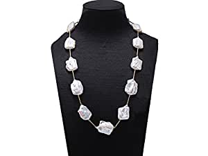 JYX Baroque White Freshwater Pearl Station Necklace Strand 21""