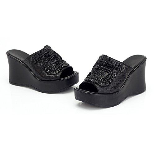 Frestepvie Femme Noir Cuir Eté Fille Tongs Mule Printemps Mode Plage Eté Sandales Comfortable Faux Compensée rTqUrW6ng