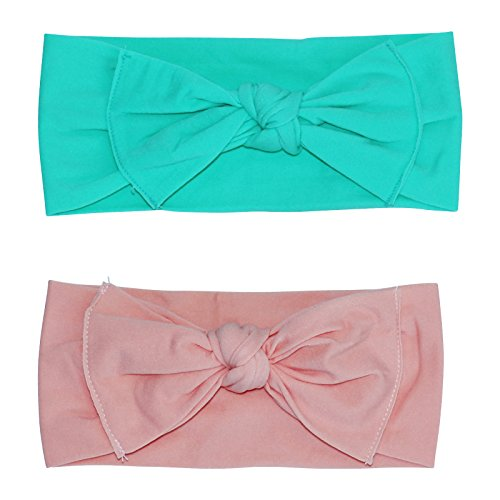 2 Pack Hand-Tied Girl Bows With Thick Nylon Headband (Mint/Peach, 6+ Months) ()