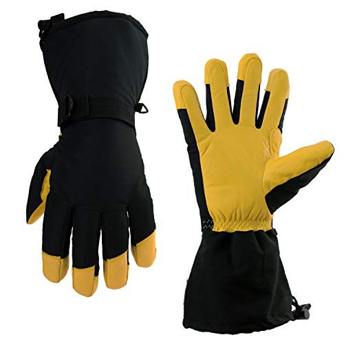 OZERO Ski Gloves, Cold Proof Winter Snow Warm Glove 3M Thinsulate Insulated Cotton & 5-inch Long Sleeve - Waterproof Nylon & Cowhide Leather Palm & Good Grip for Men & Women - Yellow/L