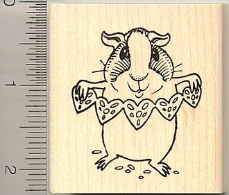 Cute Guinea Pig Valentine Rubber Stamp - Wood Mounted
