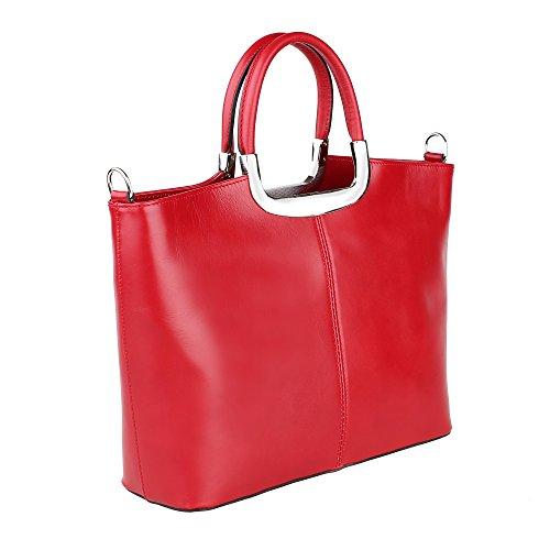 avec Fabriqué Borse en main 36x27x12 à en épaule Italie Cm véritable Chicca Rouge femme cuir Sac 7nazx8w8
