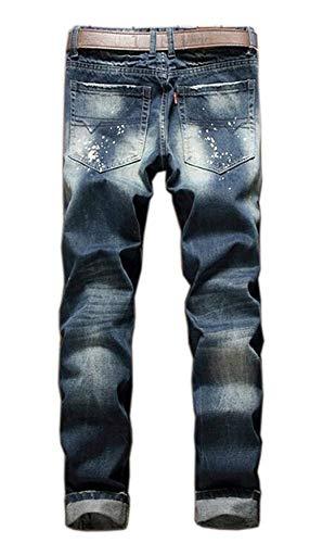 Ink Rectos Pantalones Insignia Hombre Ropa Design Blau Delgado Splash Clásica Ocio Estilo Algodón Hole Vaqueros Rectas Moda Patch De Casuales Pantalones Rectos Uqx6Xgtx