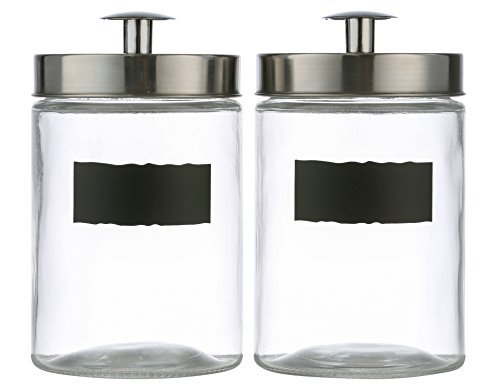"Style Setter Ultimate 2-piece Round Glass Kitchen Canister Set - Crystal Clear Food Storage Containers With Silver Airtight Lids & Chalkboard Labels For Coffee, Pasta, Cookies & More - 7"" High 46oz"