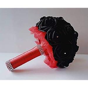 Black bridal bouquet, black and red bouquet, black bridesmaids bouquet, black wedding bouquet Black halloween bouquet, gothic bouquet. Goth bouquet, toss bouquet 20