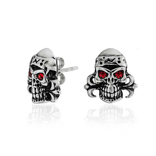 Bling Jewelry Unisex Simulated Ruby July Birthstone Crystal Gothic Punk Rock Skull Stud earrings Steel 13mm