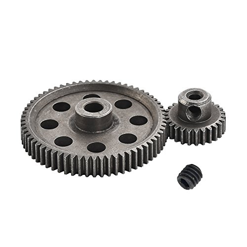 XPURC 11184 Diff Differential Main Metal Spur Gear 64T and 11176 Motor Gear 26T RC Replacement Parts Apply to 1/10 Rc Car Redcat