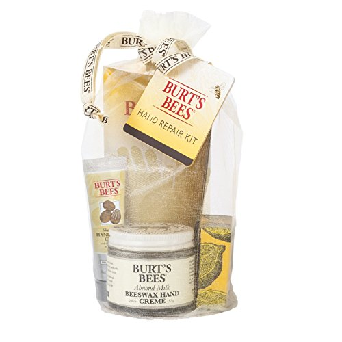 Burt's Bees Hand Repair Gift Set, 3 Hand Creams plus Gloves – Almond Milk Hand Cream, Lemon Butter Cuticle Cream, Shea Butter Hand Repair Cream