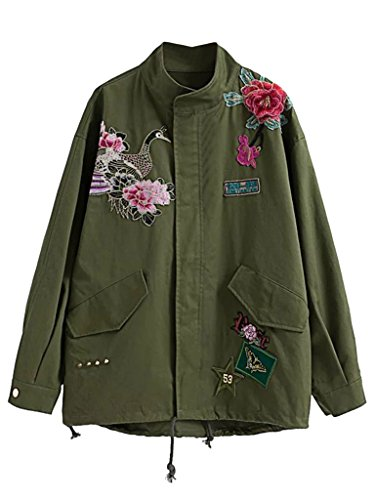 PERSUN Women's Army Green Embroidered Studded Parka Jacket Military (Green Embroidered Jacket)