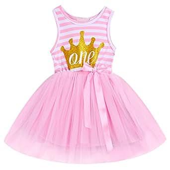 FYMNSI Newborn Baby Girls 1st/2nd/3rd Birthday Cake Smash Dress Princess Printed Sleeveless Tulle Spliced Tutu Dress Pink 1 Year