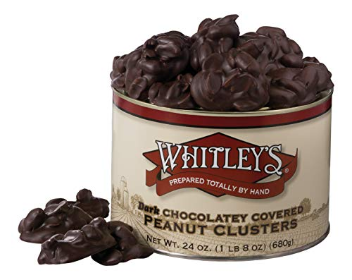 Whitley's Dark Chocolatey Covered Peanut Clusters 24 Ounce Tin (Brittle With Peanut Chocolate)