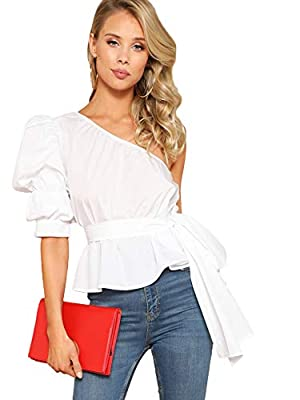 Romwe Women's One Shoulder Short Puff Sleeve Self Belted Solid Blouse