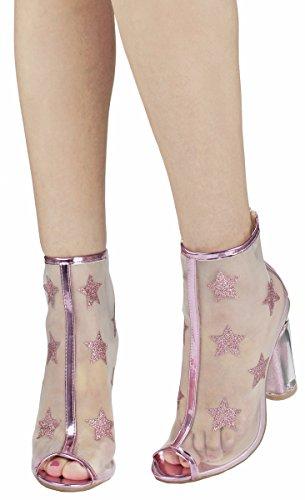 Dames Peep Toe Glitter Ster Mesh Helder Cinderella Perspex Acryl Blokhak Avondjurk Bootie Roze