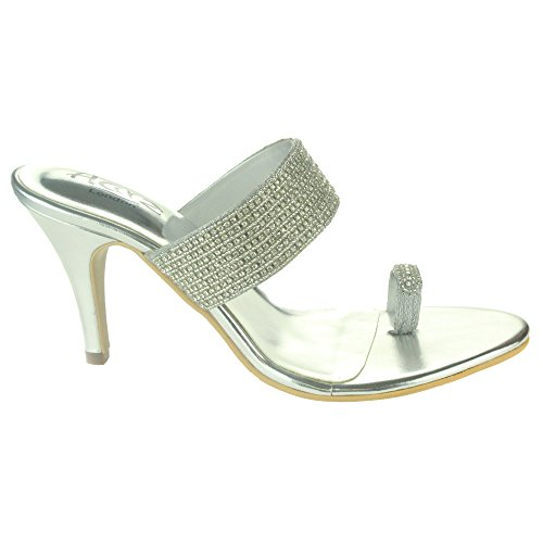 Frau Damen Sparkly Kristall Diamant Abend Hochzeit Party Abschlussball Ringzehe High Heel Sandalen Schuhe Größe Silber