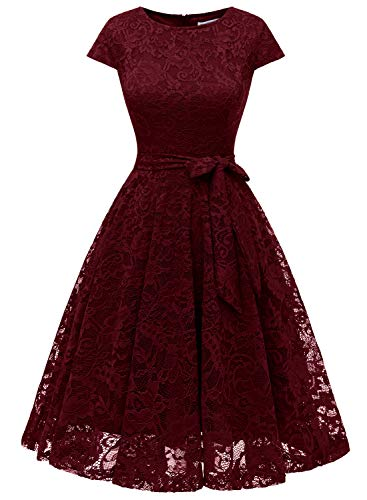 MUADRESS 6008 Women Short Lace Bridesmaid Dresses with Cap-Sleeve Formal Party Dresses Burgundy Medium