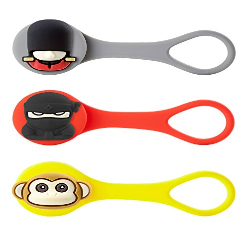 Bone Collection Q Cord Ties/Wire Organiser (Cell Phone and Electronic Devices Accessory), Set D (Queen's Guard, Ninja, Monkey)]()