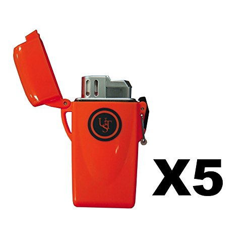 UST Stormproof Floating Lighter (Orange) and WetFire Fire Starting Tinders (package of 5) by Ultimate Survival Technologies - Butane Lighter has waterproof case by Ultimate Survival Technologies