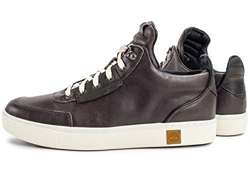 TIMBERLAND A17J9 cordones de zapatos tornado gris marrón hombre de la zapatilla de deporte de la piel lisa Brown