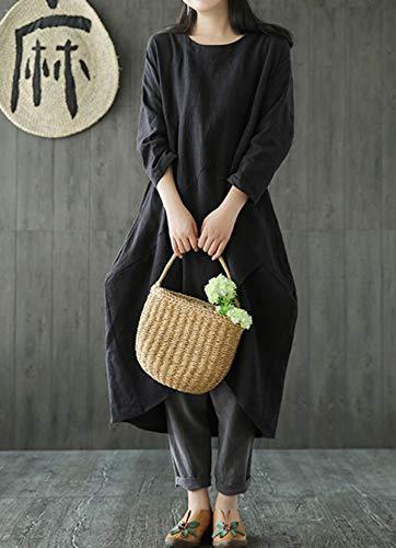 de Casual Onlyoustyle Manga Lino Otoño Playa Partido Mujeres Suelto Largo de Fiesta Redondo Cuello Vestido Larga Vestido Vestidos Moda Primavera 7wXrxnX0Rt