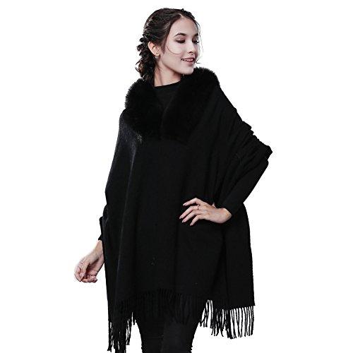 Winter Cashmere Wool Scarf Wrap - Oversized Real Fox Raccoon Fur Trimmed Shawl Scarves For Women FURTALK