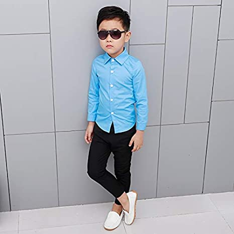 JXSHQS Ropa For Niños Nueva Camisa De Manga Larga For Niños Camisa De Color Sólido For Niños con Camisa Coreana Camisa de los niños (Color : Blue, Size : 100cm): Amazon.es: Hogar