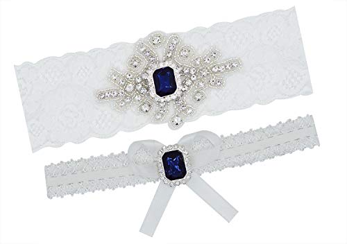 Lovful Luxury Crystal Applique Women Lace Weddign Garter Bridal Leg Garter Belt, Blue Rhinestones