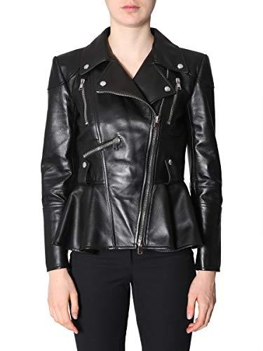 Alexander McQueen Women's 543753Q5lbb1000 Black Leather Outerwear Jacket