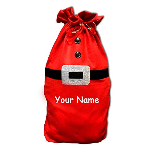 Personalized Christmas Present Gift Sack with Santa Claus Glittered Belt Details for Boys and Girls with Custom Name - 26 Inches