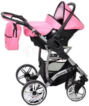 3 in 1 Reisesystem einschlie/ßlich Kinderwagen mit schwenkbaren R/ädern Schwarz und Hellrosa Allivio Buggy und Zubeh/ör Kinderautositz