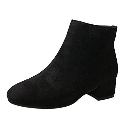 Jiangfu Botte Femme Mode Bottes Troupeau Cheville Ronde Orteil Dames Partie Ouest Tissu Glissière Latérale Nouilles De Velours Martin Courtes Noir