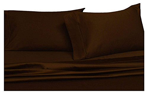 Solid Chocolate Full Size Sheets, 4PC Bed Sheet Set, 100% Cotton, 300 Thread Count, Sateen Solid, Deep Pocket, by Royal Hotel