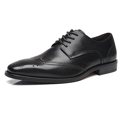 La Milano Mens Finskor Läder Oxford Vingspetsarna Snörning Business Casual Bekväma Finskor För Män Brogue-2-svart