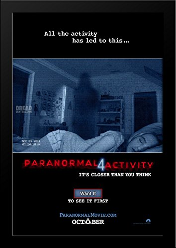 Paranormal Activity 4 28x36 Large Black Wood Framed Movie Poster Art Print by ArtDirect