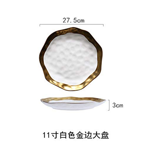 - Noble Phnom Penh Ceramic Creative Plate Breakfast Fruit Concave Water Cube Wave Point Ceramic Plate Matte White Gold Side Large 11 inch