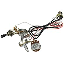 Kmise MI0318 Guitar Wiring Harness 2 Volume 1 Tone Potentiometers 500K 3 Way Toggle Switch Chrome