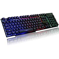 Cable World Rainbow LED Backlit 19 Key Anti-Ghosting USB Wired Mechanical Feel Multimedia Gaming Keyboard (Multicolour)