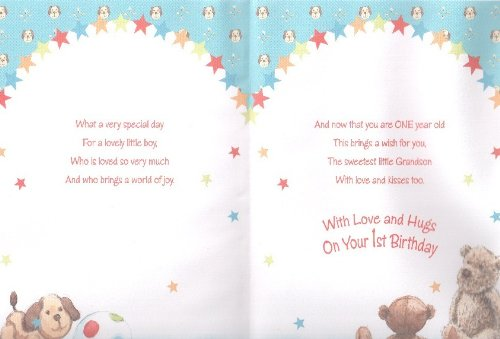 Grandsons 1st Birthday Card Good Quality Card with A Verse – 1st Birthday Card Verses