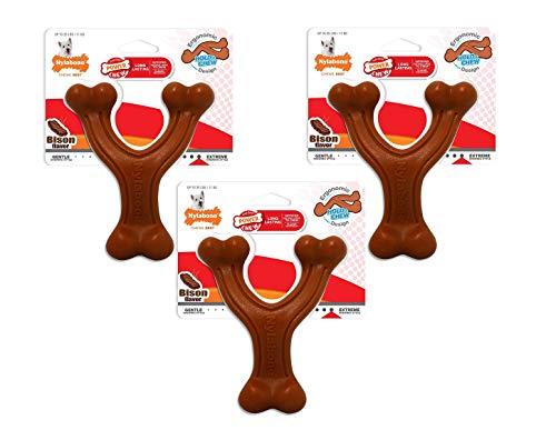 Nylabone 3 Pack of Power Chew Wishbone Chew Dog Toys, Regular, Bison Flavor