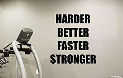Fitness Gym Wall Decal Harder Better Faster Stronger Motivational Fitness Vinyl Sticker Inspirational Wall Decor Fitness Motivation Quote Sport Wall Art Training Workout Wall Mural 98fit