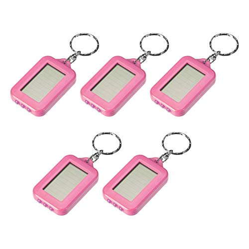 - uxcell Mini LED Keychain Flashlight Torch Solar Energy Power with Hook Pink 5Pcs for Camping Hiking Hunting Fishing
