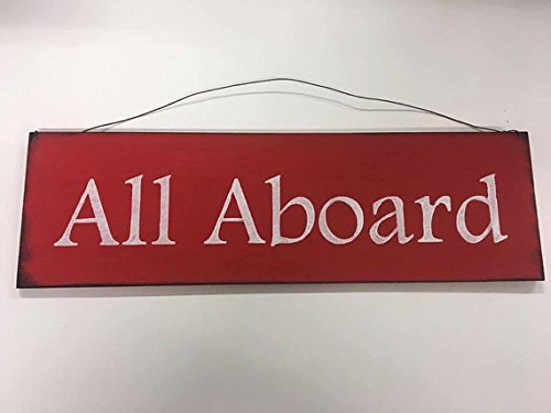 Red and White All Aboard Wooden Train Wall Art Sign Boys Bedroom Decor