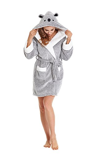 Firecos Women Animal Robe - Soft Robes for Women with Hood, Cozy Critter Koala Robe Fuzzy Robe for Women (Grey, Small)