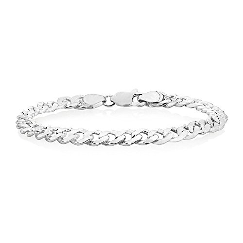 Verona Jewelers 7.5MM, 8MM Sterling Silver Curb Cuban Link Chain Bracelet for Men- 925 Italian Made Chain (8MM-8 ()