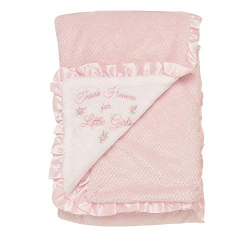 Little Me Thank Heaven for Little Girls 2-Ply Baby Blanket with Satin - Satin Ruffle Blanket