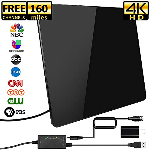 ([2019 Upgraded] HDTV Antenna,Indoor Digital TV Antennas Amplified 160+ Miles Range Smart Amplifier Signal Booster for 1080P 4K Free TV Channels, Amplified 17ft Coax Cable)
