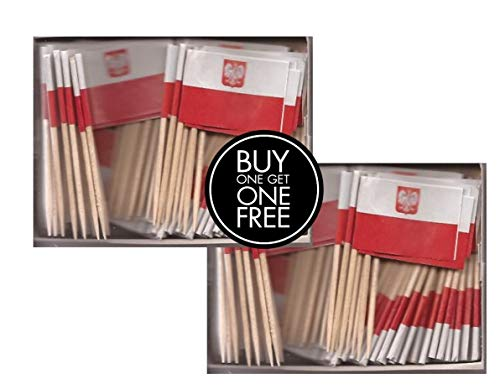 2 Boxes of Mini Poland Eagle Toothpick Flags, 200 Small Polish Eagle Flag Toothpicks or Cocktail Sticks & Picks -